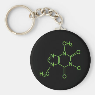 Caffeine Coffee Molecule Chemical Diagram Keychain