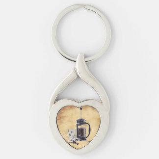 Caffeine Craving Silver-Colored Heart-Shaped Metal Keychain