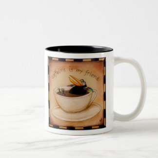 Caffeine fiend crow coffee mug