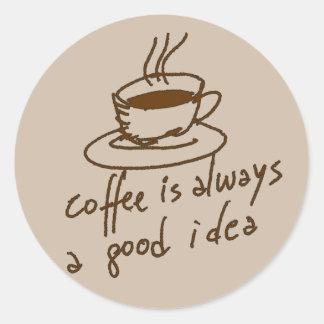 caffeine for coffee lovers classic round sticker