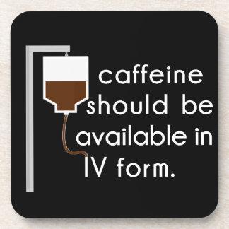 caffeine in IV, nurse humor Coaster
