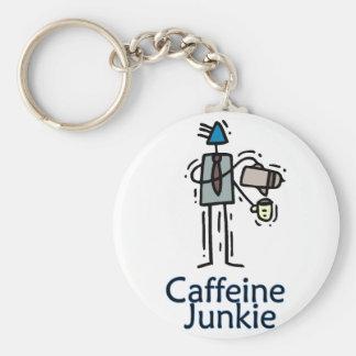 Caffeine  Junkie Basic Round Button Keychain