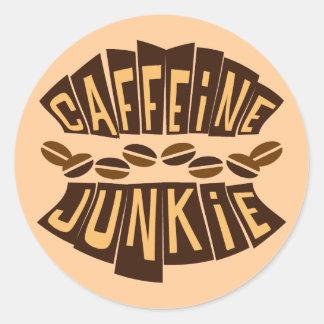 CAFFEINE JUNKIE CLASSIC ROUND STICKER
