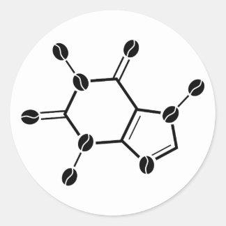 caffeine molecular beans classic round sticker