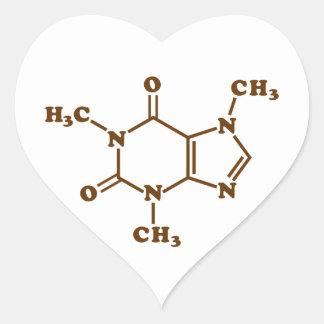 Caffeine Molecular Chemical Formula Heart Sticker