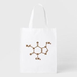 Caffeine Molecular Chemical Formula Reusable Grocery Bags