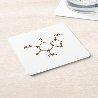 Caffeine Molecular Chemical Formula Square Paper Coaster