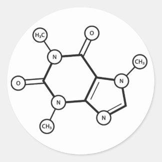 caffeine molecular structure classic round sticker
