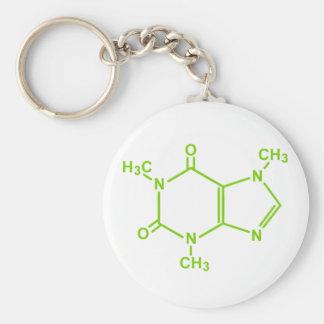 Caffeine Molecule Basic Round Button Keychain