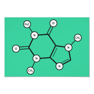 caffeine molecule 3.5x5 paper invitation card
