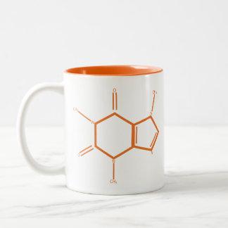 Caffeine Molecule - Orange Two-Tone Coffee Mug
