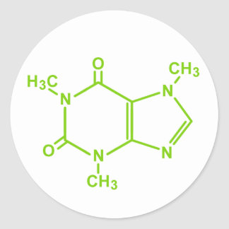 Caffeine Molecule Classic Round Sticker