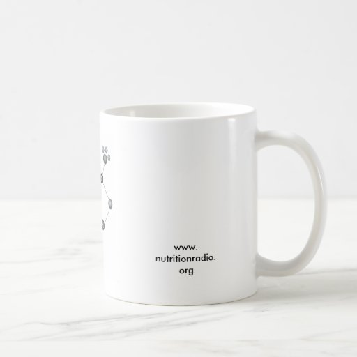 caffeine molecule, www.nutritionradio.org coffee mug