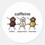 Caffeine Round Stickers