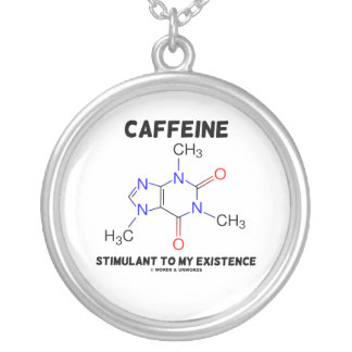 Caffeine Stimulant To My Existence (Chemistry) Silver Plated Necklace