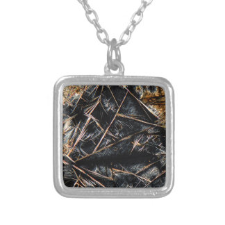 Caffeine under the microscope silver plated necklace