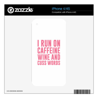 Caffeine Wine & Cuss Words Decal For iPhone 4