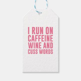 Caffeine Wine & Cuss Words Gift Tags