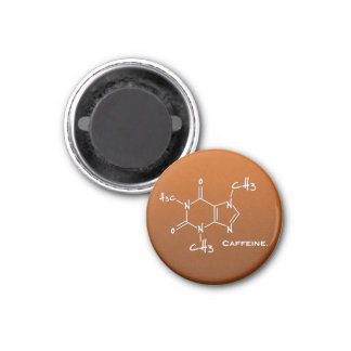Caffiene molecule (chemical structure) 1 inch round magnet