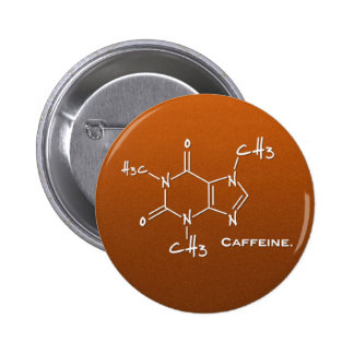 Caffiene molecule (chemical structure) 2 inch round button