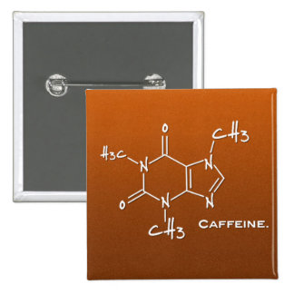 Caffiene molecule (chemical structure) 2 inch square button
