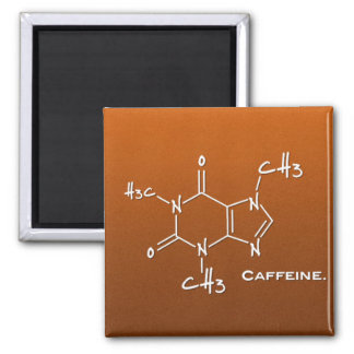 Caffiene molecule (chemical structure) 2 inch square magnet