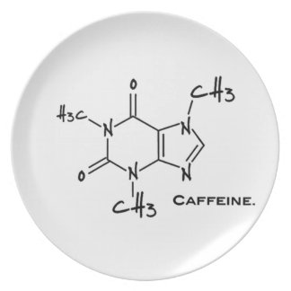 Caffiene molecule (chemical structure) dinner plates