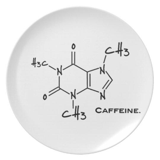 Caffiene molecule (chemical structure) melamine plate