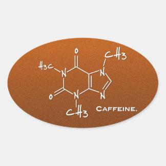 Caffiene molecule (chemical structure) oval sticker