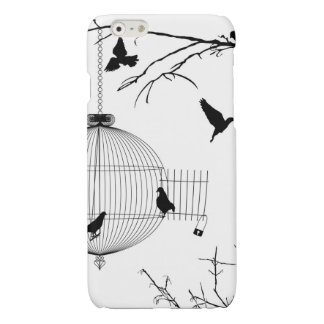 Cage and birds silhouettes glossy iPhone 6 case