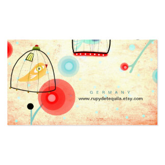 Cage Bird poppies vintage Business Card