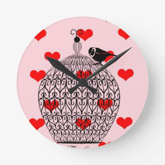 Cage of love round wall clocks
