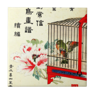 Caged Bird and Blossom 1870 Ceramic Tile