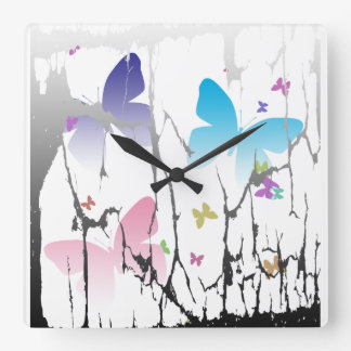 Caged Butterflies Square Wall Clock