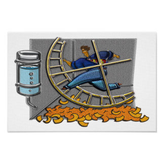 Caged Man Jogging Hamster Wheel Print