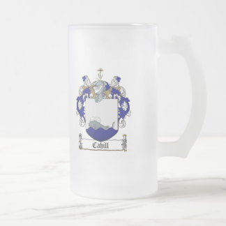 CAHILL FAMILY CREST -  CAHILL COAT OF ARMS FROSTED GLASS BEER MUG