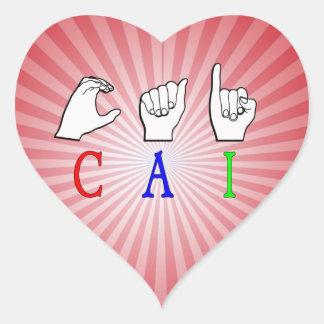 CAI NAME SIGN FINGERSPELLED ASL HEART STICKER