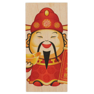 Cai Shen, The Chinese God Of Prosperity Wood USB 2.0 Flash Drive