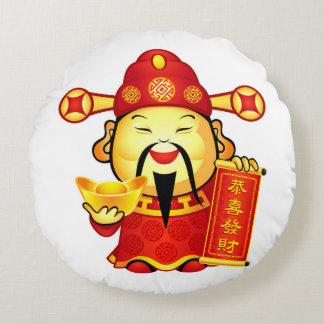 Cai Shen, The Chinese God Of Prosperity Round Pillow