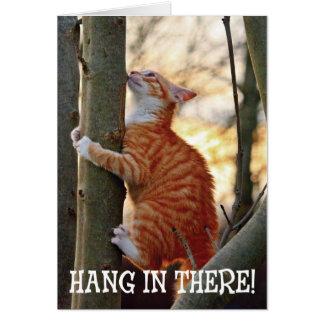 Caída adentro allí con el gato tarjeta de felicitación