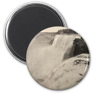 Caída americana de la isla de la cabra, foto rara  imán redondo 5 cm