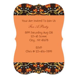 caída anaranjada del otoño del modelo floral invitación 12,7 x 17,8 cm