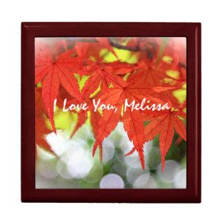 Caída blanca de Bokeh de las hojas de arce rojas Cajas De Regalo