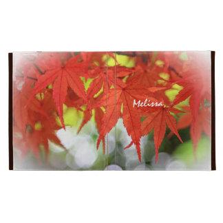 Caída blanca de Bokeh de las hojas de arce rojas