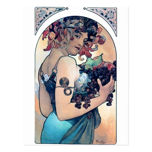 caída de las frutas de la mujer del art déco de postal