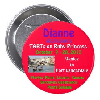 caída de rubíes 2012 de la princesa TA Pin Redondo De 3 Pulgadas