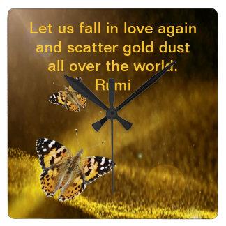 Caída de Rumi en amor otra vez Reloj Cuadrado