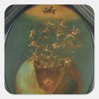Caída de Satan y los ángeles rebeldes del cielo Calcomanía Cuadrada Personalizada