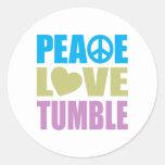 Caída del amor de la paz etiqueta redonda