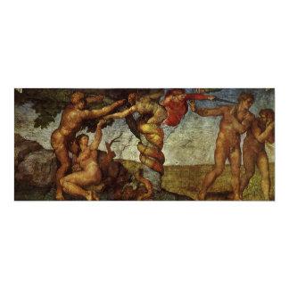 Caída del jardín de Eden, fresco, Miguel Ángel Invitación 10,1 X 23,5 Cm